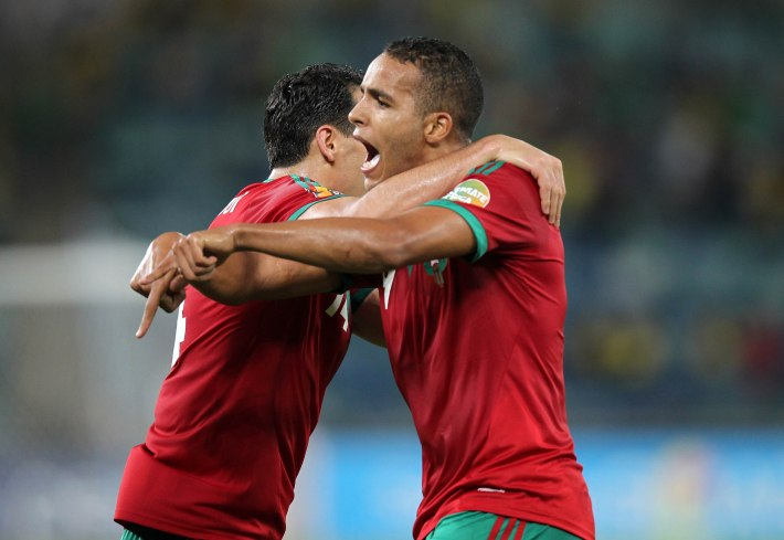 DURBAN, SOUTH AFRICA - JANUARY 23, Youssef el Arabi of Morocco celebrates his goal during the 2013 Orange African Cup of Nations match between Morocco and Cape Verde Islands from Moses Mabhida Stadium on January 23, 2012 in Durban, South Africa Photo by Anesh Debiky / Gallo Images