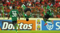 Zambia's midfielder Christopher Katongo (C) celebrates after scoring a goal during the Group A 2012 Africa Cup of Nations football match between Equatorial Guinea and Zambia in Malabo, on January 29, 2012, at the Malabo stadium. The African Cup of Nations 2012 is taking place in Gabon and Equatorial Guinea from January 21 to Febuary 12, 2012. Zambia won 1-0. AFP PHOTO / ALEXANDER JOE (Photo credit should read ALEXANDER JOE/AFP/Getty Images)