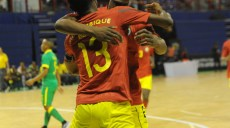 Ricardo Mendes Muendane of Mozambique celebrates his goal with teammates during the Futsal African Cup of Nations match between South Africa and Mozambique on 15 April 2016 at Ellis Park Stadium Pic Sydney Mahlangu/ BackpagePix