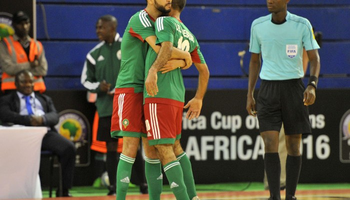 Saad Knia of Morocco celebrates his goal with his teammates during the 2016 Futsal African Cup of Nations match between Angola and Morocco at the Ellis Park Stadium in Johannesburg, South Africa on April 16, 2016 ©Samuel Shivambu/BackpagePix