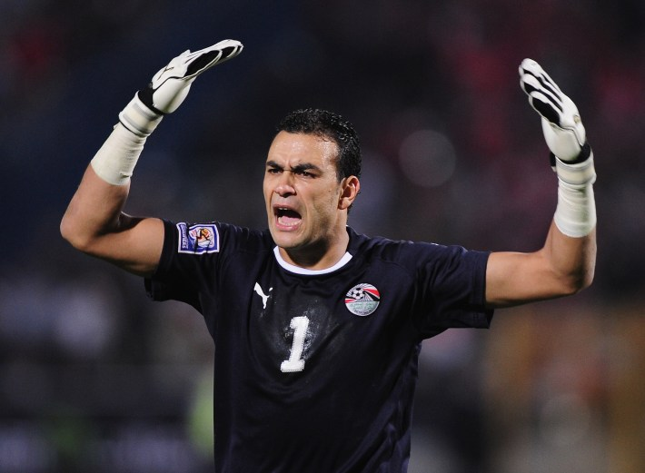 CAIRO, EGYPT - NOVEMBER 14:  Essam El Hadary of Egypt in animated mood during the FIFA2010 World Cup qualifying match  between Egypt and Algeria at the Cairo International Stadium on November 14, 2009 in Cairo, Egypt.  (Photo by Clive Mason/Getty Images)
