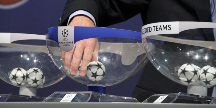 NYON, SWITZERLAND - AUGUST 8:  UEFA General Secretary Gianni Infantino conducts the draw of the UEFA Champions League playoff round at the UEFA headquarters in Nyon, Switzerland, 08 August 2014. Besiktas have drawn Arsenal in a Champions League play-off with a place in the competition group stages up for grabs. (Photo by Fatih Erel/Anadolu Agency/Getty Images)