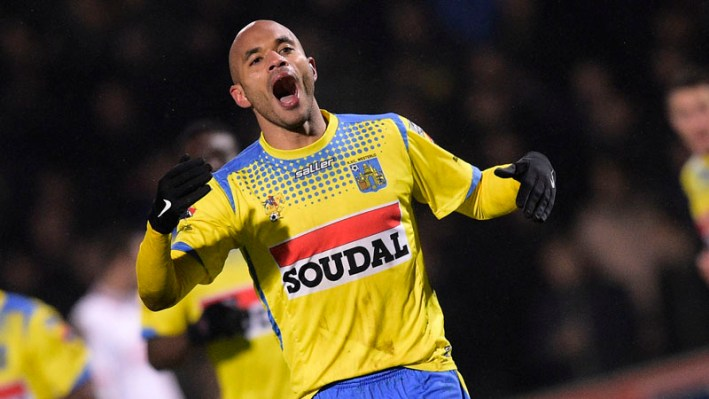 Westerlo's Frederic Gounongbe celebrates after scoring during the Jupiler Pro League match between Westerlo and Standard de Liege, in Westerlo, Sunday 14 February 2016, on day 26 of the Belgian soccer championship. BELGA PHOTO YORICK JANSENS