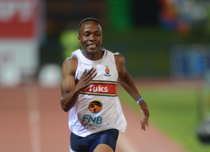 PRETORIA, SOUTH AFRICA - APRIL 29: Akani Simbine of Tuks during the Varsity Athletics Challange from the University of Pretoria on April 29, 2013 in Pretoria, South Africa. (Photo by Lee Warren/Gallo Images)