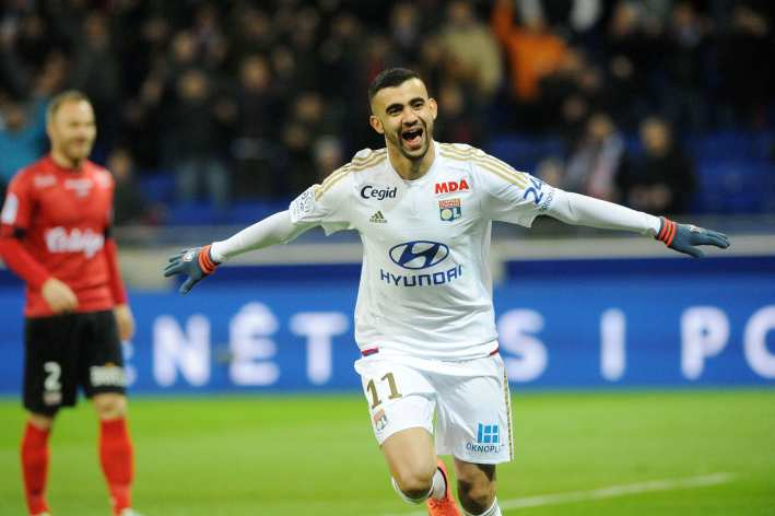 Rachid GHEZZAL of Lyon celebrates during the French Ligue 1 match between Olympique Lyonnais v EA Guingamp at Stade des Lumieres on March 6, 2016 in Lyon, France.