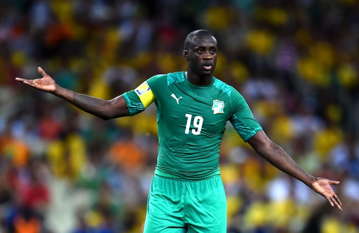 FORTALEZA, BRAZIL - JUNE 24: Yaya Toure of the Ivory Coast reacts during the 2014 FIFA World Cup Brazil Group C match between Greece and Cote D'Ivoire at Estadio Castelao on June 24, 2014 in Fortaleza, Brazil.  (Photo by Lars Baron - FIFA/FIFA via Getty Images)