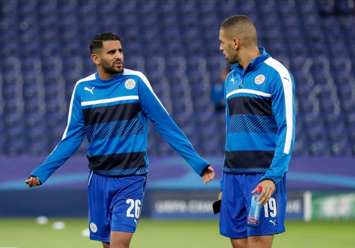 Britain Soccer Football - Leicester City v FC Porto - UEFA Champions League Group Stage - Group G - King Power Stadium, Leicester, England - 27/9/16 Leicester City's Riyad Mahrez and Islam Slimani before the match Action Images via Reuters / Carl Recine Livepic EDITORIAL USE ONLY.
