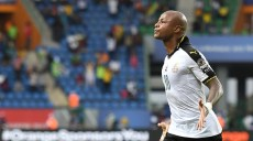 Ghana's forward Andre Ayew celebrates after scoring a goal during the 2017 Africa Cup of Nations group D football match between Ghana and Uganda in Port-Gentil on January 17, 2017. / AFP PHOTO / Justin TALLIS