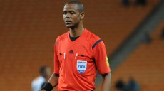 JOHANNESBURG, SOUTH AFRICA - MARCH 12: Referee Janny Sikazwe during the 2016 CAF Champions League match between Kaizer Chiefs and Asec Mimosas at FNB Stadium on March 12, 2016 in Johannesburg, South Africa. (Photo by Gallo Images)