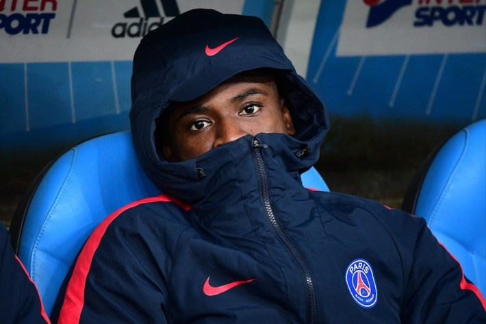 Serge Aurier of PSG on the bench during the French Ligue 1 match Marseille and Paris Saint Germain at Stade Velodrome on February 26, 2017 in Marseille, France. (Photo by Dave Winter/Icon Sport)