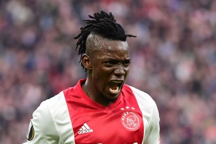 Ajax forward Bertrand Traoré reacts after fourth goal during UEFA Europa League semi-final, first leg, Ajax Amsterdam v Olympique Lyonnais (OM) on May 3, 2017 in Amsterdam.  / AFP PHOTO / Emmanuel DUNAND        (Photo credit should read EMMANUEL DUNAND/AFP/Getty Images)