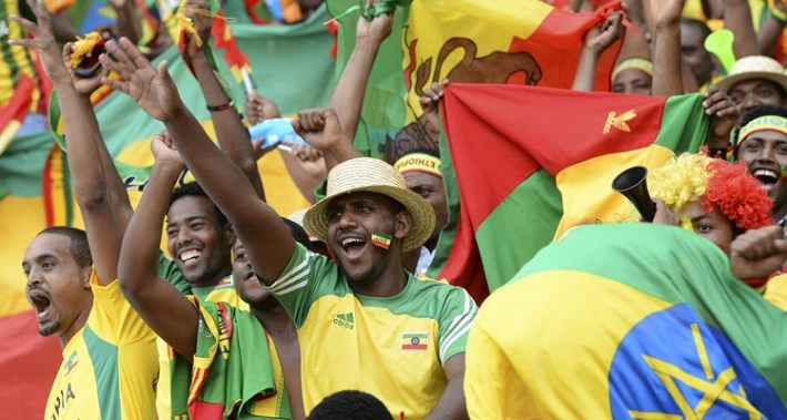 Fans cheer before the Africa Cup of Nations Zambia vs Ethiopia group C football match at Mbombela Stadium in Nelspruit on January 21, 2013. AFP PHOTO/ FRANCISCO LEONG