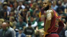 MILWAUKEE, WI - OCTOBER 20: LeBron James #23 of the Cleveland Cavaliers waits during a timeout during the second quarter of a game against the Milwaukee Bucks at the Bradley Center on October 20, 2017 in Milwaukee, Wisconsin. NOTE TO USER: User expressly acknowledges and agrees that, by downloading and or using this photograph, User is consenting to the terms and conditions of the Getty Images License Agreement.   Stacy Revere/Getty Images/AFP