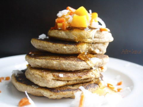 peach coconut carrot vegan pancake