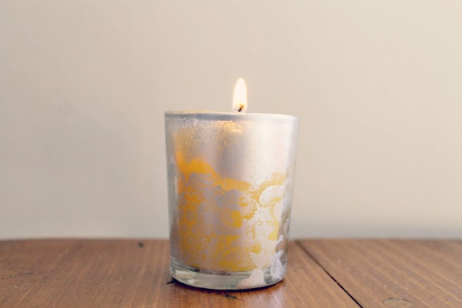 DIY Lace Painted Candle Holders