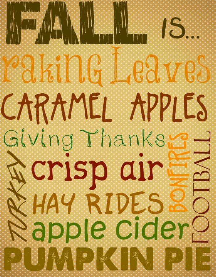 Fall Subway Art Printable from A Fun and Frugal Life