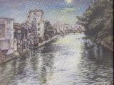 博多川の月(南新橋より)
