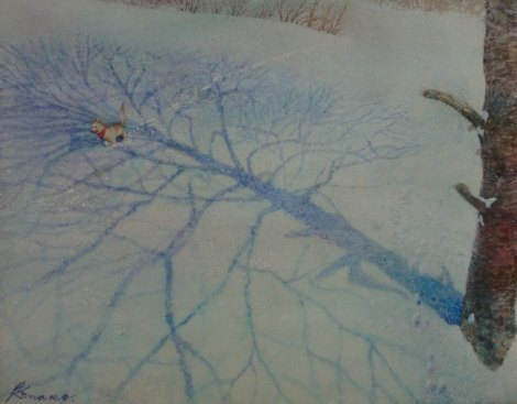 冬のみちくさ3(墨・アクリル 6号)