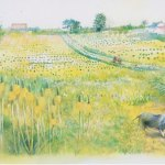 小島加奈子「nature sketchbook – ひまわりの丘」(水彩8号)