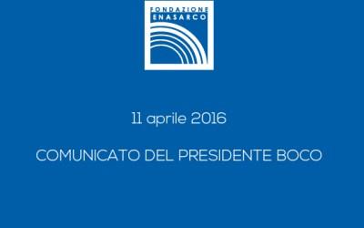 COMUNICATO DEL PRESIDENTE BOCO