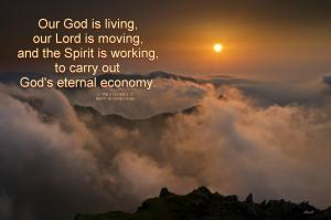 "God's Move on Earth is by the Move of ""the High and Awesome Wheels"" (Ezek. 1) [In the picture: Our God is living, our Lord is moving, and the Spirit is working, to carry out God's eternal economy. ]"