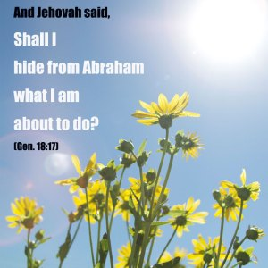Gen. 18:17 And Jehovah said, Shall I hide from Abraham what I am about to do?
