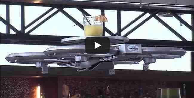 شاهد طائرات Infinium الصغيرة لتقديم الطعام لزبائن المطاعم