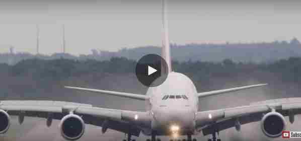 فيديو هبوط اضخم طائرة في العالم بظروف سيئة طائرة ايرباص A380