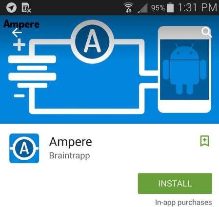 تطبيق أمبير Ampere للاندرويد لمعرفة عمر البطارية