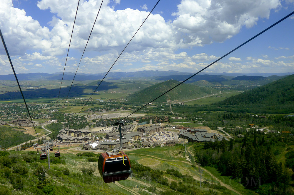 Looking down over Park City from the Gondola at the Canyons Resort in Utah.