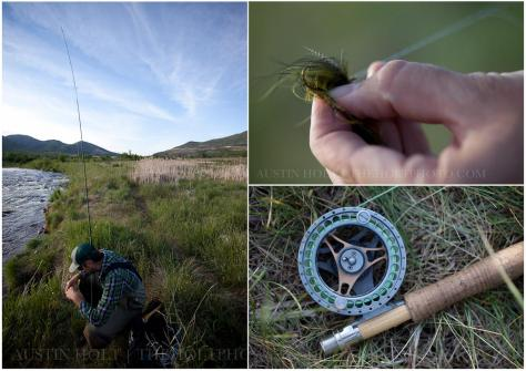 A photo of a fly fishing fly, a fisherman on the river, and a reel laying in the grass.