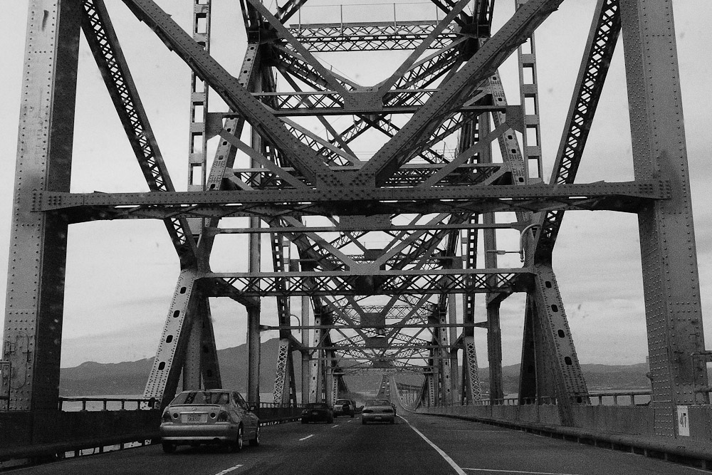 The trestles of a bridge on the highway in California.