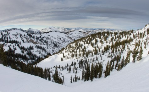A photo of Emma Bowl in the Silver Fork drainage in the Wasatch Mountains in Utah.