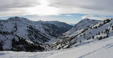 A photo looking down Little Cottonwood Canyon in to the town of Alta, utah.