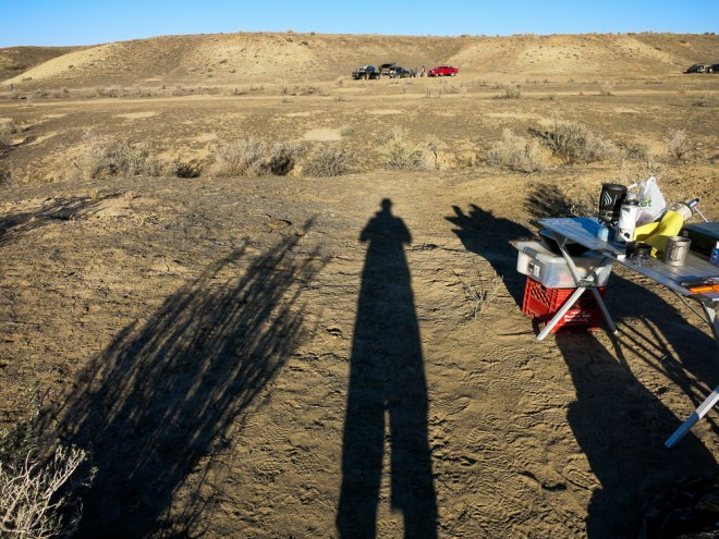 My shadow looming over our campsite in Fruita at 18 Road
