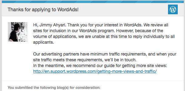 Email Konfirmasi WordAds