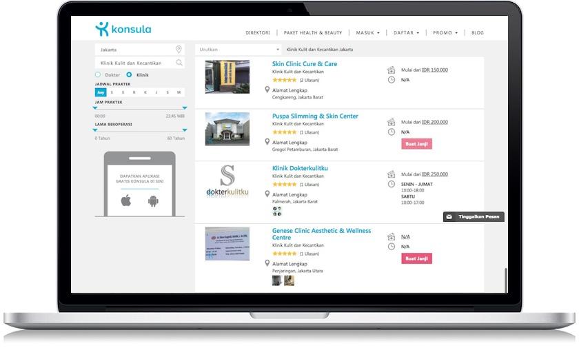 desain website klinik kecantikan online