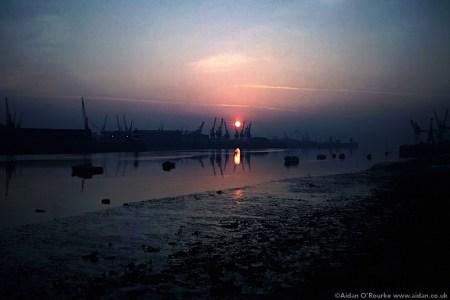 Sunrise over Dublin docks 1981