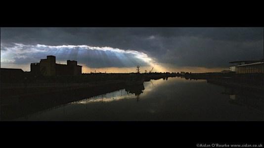 Gloomy sky over Salford Quays