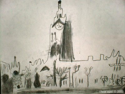 Based on one of my photos, a drawing by primary school student Israr, aged 10, (May 2005)