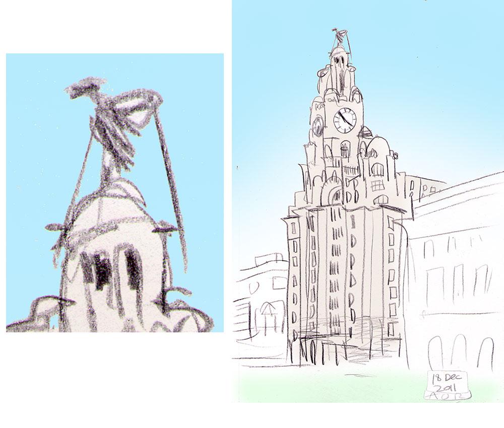 Liver Building sketch by Aidan O'Rourke