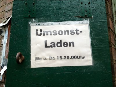 "Leipzig Signs: Umsonst-Laden ""For nothing"" shop"