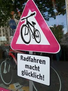Leipzig sign: Radfahren macht glücklich! Cycling makes you happy!