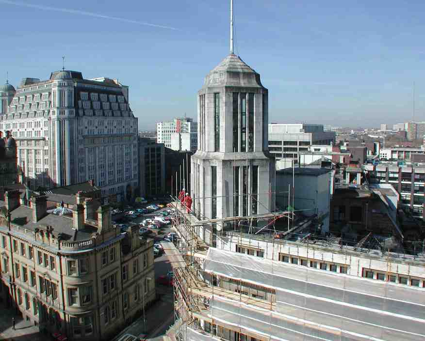 Northcliffe House just before demolition and Sunlight House (left) 26 March 2002