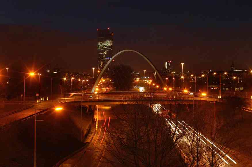 Night view of the Hulme Arch and Princess Road looking north