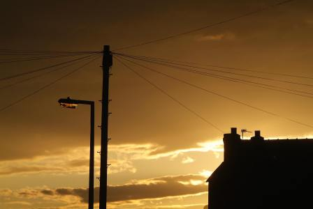 Lamp post, telegraph pole, chimney, aerial, rooftop late afternoon, Kensington Rd Cheadle Heath, Stockport