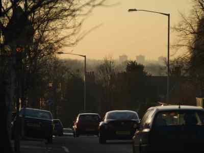 View along Edgeley Road Cheadle Heath towards flats, Wythenshawe