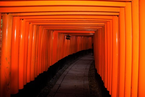 The beginning of a tunnel of Torii gates in Fushimi Inari Shrine | Kyoto, Japan.