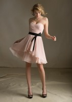 Nectarean A-line Sweetheart Ruching Short/Mini Chiffon Bridesmaid Dresses_1
