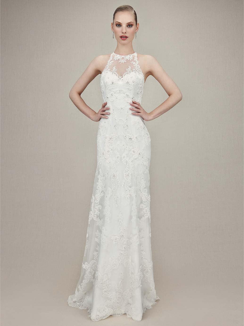 sheath jewel neck sleeveless lace wedding dress with sheer back p sheer back wedding dress Sheath Jewel Neck Sleeveless Lace Wedding Dress with Sheer Back